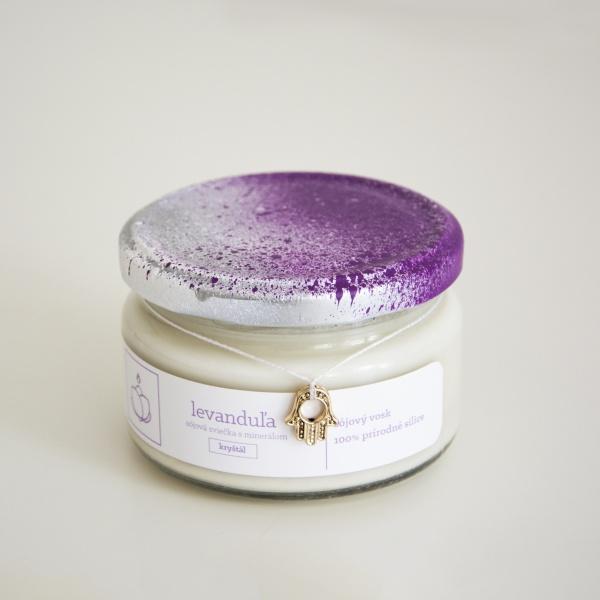 Levanduľa - Sójová sviečka s ukrytým minerálom, 150 g