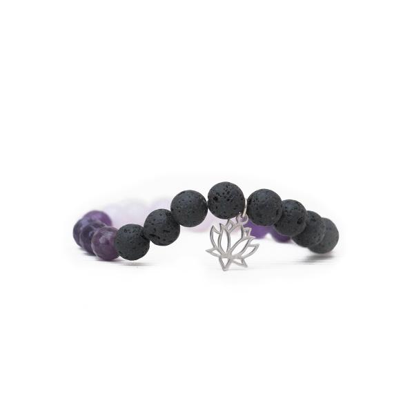 Náramok s lotusom, lávovým kameňom, achátom a jadeitom