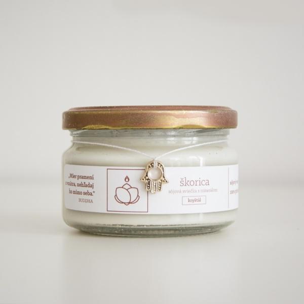 ŠKORICA - Sójová sviečka s ukrytým minerálom, 150 g